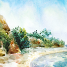 The watercolor seascape. Painting. Oil.
