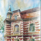 The Watercolor painting.House with the Atlanteans. Odessa.