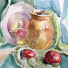 Watercolor still-life painting