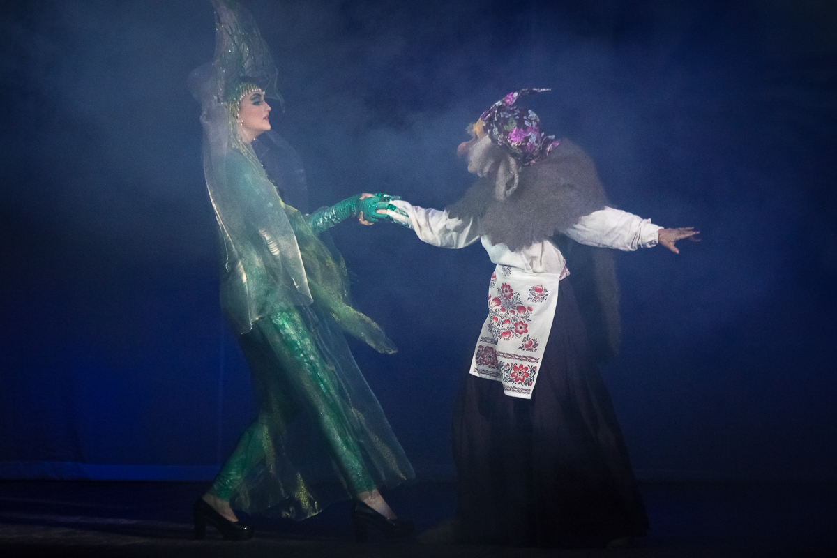The image of an evil witch and a princess. Russian epic